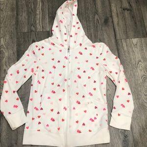 Heart zip up hoodie jacket